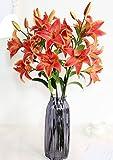 IIWOJ Künstliche Blumenlärm PU Tiger Orchid Hochzeits-Wohnzimmer-Dekoration (Ohne Vase),Red