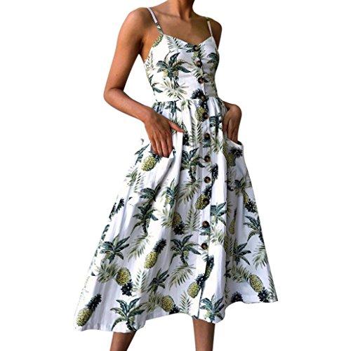 Summer Dress Women Sexy Printing Buttons Sleeveless Mid-Calf Dress Boho Beach Dress Vintage Party Dress