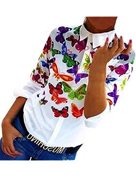 Camisas Mujer Manga Larga Blancas Estampadas Flores Mariposa Stand Cuello Originales Camisa De Vestir Fiesta Elegantes...