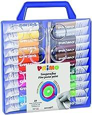 Morocolor PRIMO, Tempere per dipingere 22 colori valigetta con coperchio tavolozza e pennelli tempere lavabili