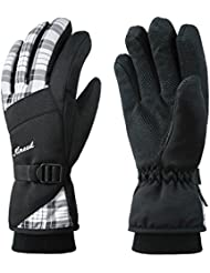 KINEED Winter Ski Gloves Women Waterproof Warm Snow Skiing Snowboarding Cycling Thinsulate Thermal Gloves