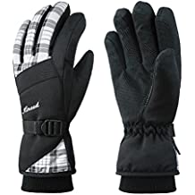 KINEED Guantes Esquí Invierno Impermeable Mujer Guantes Snowboard Ciclismo Cálido Thinsulate Blanco