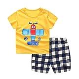 Baywell Enfants Bébé Garçon Vêtements Ensemble, Toddler Mignon Dessin Animé Lettre T-Shirt Imprimante + Shorts Outfit 2 Pcs (110/4-5 Ans, D)