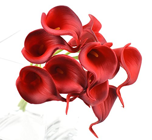 FiveSeasonStuff 10 pezzi Qualità Tocco Realistico Calla Lilies Artificiale Mazzo di Fiori, Ideale per Matrimoni, (Partito accessori)