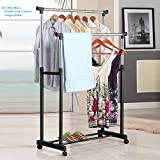 FEELING MALL Stainless Steel Double Pole Portable Clothes Rack Foldable Garments Hanging Stand Adjustable Laundry Drying Rack Hanger, Multipurpose Cloth Storage Rack with Wheels