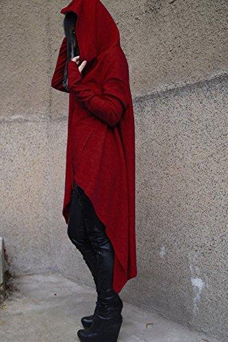 Donna Autunno Lnvernali Oversize Asimmetrico Sweatshirt Casual Hoodies Maglietta Jumper Tops Felpa con Cappuccio Collo Alto Pullover Lungo Maniche Lunghe Felpe Vestito Tumblr Signora Vino rosso