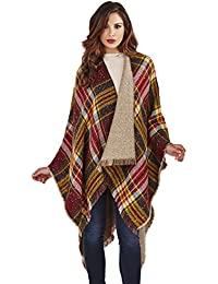 Lora DoraWomens Reversible Poncho Tartan Check Cape Wrap Tweed Winter Shawl Scarf One Size