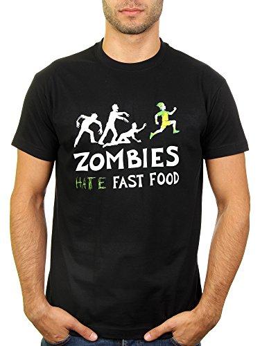Likoli Zombies Hate Fast Food - Herren T-Shirt von Kater, Gr. L, Deep Black