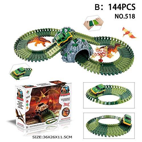 (QueenHome Dinosaurier Spielzeug mit Dinosaurier Rennstrecke Spielzeug Jurassic Dinosaurier Welt schaffen Straße, Flexible Tracks Spielset Spielzeugautos Panzer Dinosaurier Soldat Spielzeug für Kind)