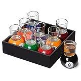 BonZeal Set of 9 Multi-Coloured Billiard Ball Base Pool Bar Shot Glasses