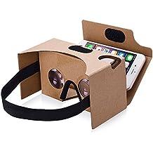 【2017 VERSION】TopElek Dernière Google Cardboard Kit V2 Grande Lentille 3D Virtuelle Réalité Cardboard VR Lunettes en Carton avec T Casque, Compatible avec 3.5-5.5 pouces Ecran Android et Apple Smartphone 【Cadeau Idéal】