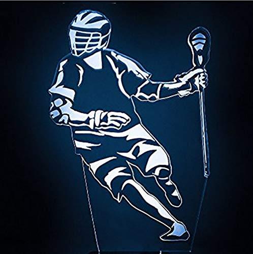 Nachtlichter Für Kinder 7 Farbwechsel Home Decor 3D Hockey Player Form Nachtlicht Led Lacrosse Schreibtischlampe Kreative Sport Fans Schlaf Leuchte (Lacrosse-batterie)