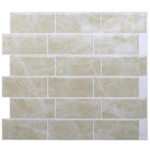 4-er Packung 3D Gel Mosaic Effekt Aufkleber. Selbstklebend und beige stein effekt. 28.5 cm x 25.4 cm Selbstklebendes Vinyl-Mosaik (3D0008) -