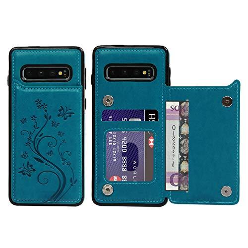 Promixc für Galaxy S10 Hülle, Premium Leder Flip Schutzhülle Doppelt Magnetic Snap mit Ständer Funktion Case Cover Brieftasche Handyhülle für Samsung Galaxy S10 - Blau Schutzhülle Flip Case