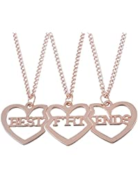 """HOUSWEETY 3 Pcs Collier d'Amitie Forever Pendentif Coeur Briser Couple Puzzle """"best friends"""" pour Femme Fille-Or/Or rose/Acier"""
