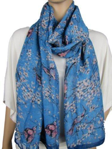 large-japanese-vintage-style-bird-cherry-blossom-tree-print-scarf-wrap-hijab-shawl-blue