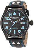 Stuhrling Original Eagle Men's Quartz Watch with Black Dial Analogue Display and Black Leather Strap 141.33151000000001