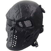 wwman completo cara calavera máscara de Airsoft Tactical Paintball CS Protective Gear equipo, negro