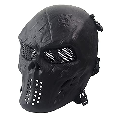 Wwman Full Face Skull Airsoft Mask Tactical Paintball CS Protective Gear equipment (Black)