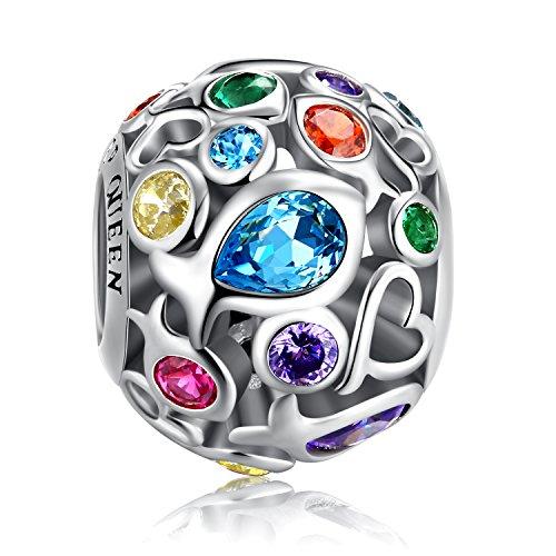 Charm Regenbogenfarben für Pandora Charm Armband, 925 Sterling Silber durchbrochen Beads Colorful Charme mit hautfreundlich Fisch Cubic Zirkon Stein, perfekt für Armband Halskette fq0001