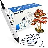Professionelle 3D Druck Stift mit OLED-Display für Kunst, Modellierung, Druck- und Handwerk, mit Pla/ABS-Fasern + 3 gratis 1,75 mm Filament Nachfüllungen kompatibel, ideal als Geschenk für Kinder und Erwachsene (Weiß)