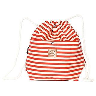 Original ♡ T-BAGS Thailand Beutel small | Turnbeutel Hipster | Sportbeutel | hochwertig, stylisch, hoher Tragekomfort | 14 coole Designs (Streifen rot)