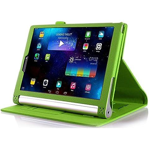 ELTD Lenovo Yoga Tab 3 Pro cover, Book-style Funda de piel de cuerpo entero para Lenovo Yoga Tab 3 Pro 10.1-inch con la función del sueño / despierta, Verde