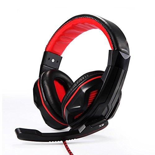 EasyAcc Gaming Headset - 3,5mm Steckergröße (verkabelt, PC/Spiele, ohraufliegend, Stereophonisch, Kopfband, Schwarz, Rot)