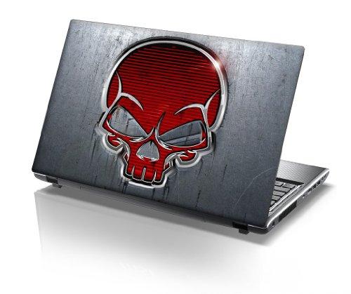 TaylorHe Folie Sticker Skin Vinyl Aufkleber mit bunten Mustern für 15 Zoll 15,6 Zoll (38cm x 25,5cm) Laptop Skin grau mit rotem Schädel -