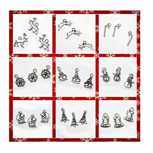 Ciondoli natalizi per bigiotteria, bracciali fai da te e decorazioni - charms placcati argento - 27 pezzi