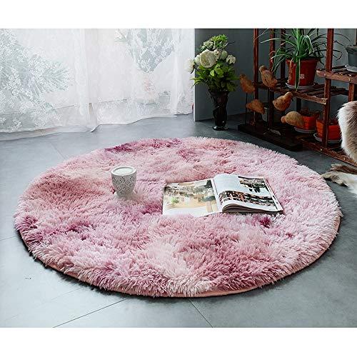 GOYOO Zuhause Teppich Wohnzimmer Schreibtisch Gradient Matte Tie Färben Lange Haare Voll Schlafzimmer Teppich Runde Nacht Decke -
