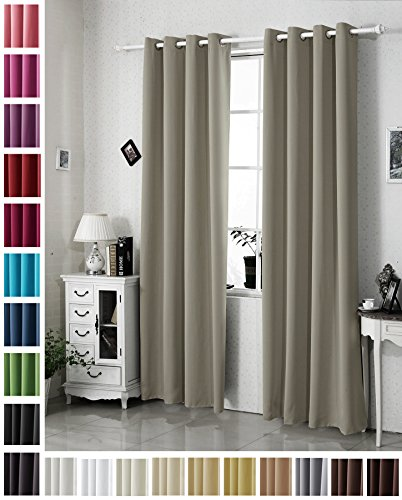 Woltu vh5878sd-b tenda oscurante tende drappeggio occhielli metallo finestra soggiorno parete 100% poliestere tessuto termica isolante pesante marrone chiaro 135x225 cm