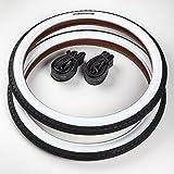 CST 2X Reifen Weißwand 20 Zoll + 2 AV/Autoschrader Ventil Schläuche | 20 x 1.75 | 47-406 Schwarz - Weiß Ventil Decke Mantel Cruiser Klapprad