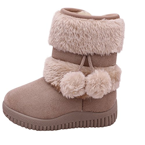 Kinder Mädchen Schlupfstiefel Weiche Gepolsterten Schuhe Warm Gefüttert Boots Winter Stiefel Winterschuhe Baby Kleinkind,Beige (Kind Stiefel)