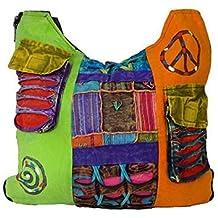 Bolso largo multicolor estilo hippie para mujer.
