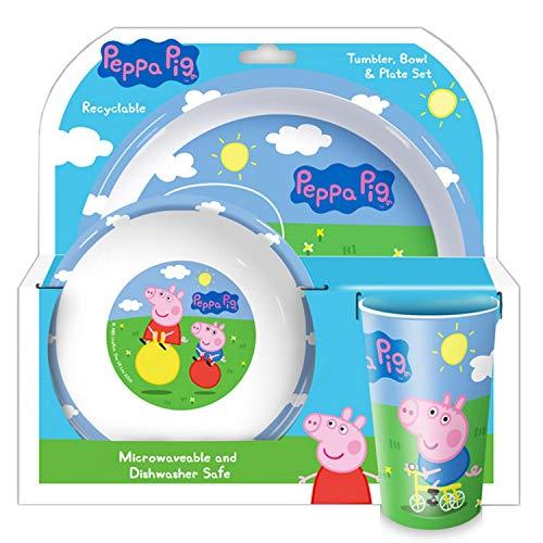 Peppa Pig and George - Juego de Vasos, Cuencos y Platos