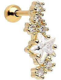 "Body Candy Anodized Steel Clear Star Dust Left Cartilage Earring 16 Gauge 1/4"""