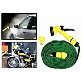 Cherry Magic Hose Pipe With Washing Spray Jet Gun For Cars Bikes And Garden 10M (Green)