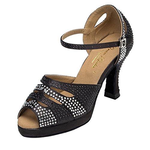 Minitoo–th128piattaforma raso matrimonio ballo Latina taogo Dance Sandals Black