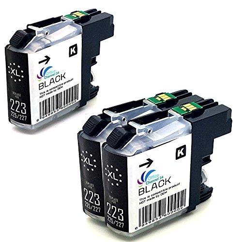 Preisvergleich Produktbild 3 Druckerpatronen schwarz XL mit neusten V3 Chip für Brother LC223 LC225 XL Brother MFC J480DW DCP J562DW DCP-J4120 DW MFC-J4420 DW
