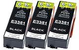 3 Druckerpatronen XL nur Schwarz ersetzen Epson T3351 geeignet z.B. für Epson Expression Premium XP-530, XP-540, XP-630, XP-635, XP-640, XP-645, XP-830, XP-900