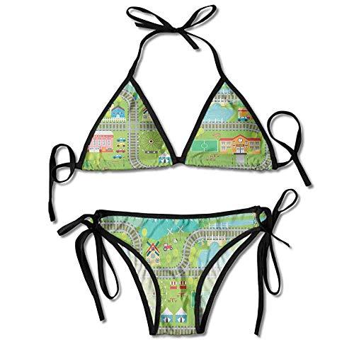 Women's Printing Bikini,Town School City Mall Sexy Bikini 2 Pieces