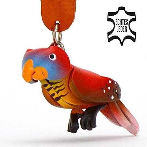 Papagei Peter - Spielzeug Schlüsselanhänger Figur aus Leder in der Kategorie Kuscheltier / Stofftier von Monkimau in rot - Dein bester Freund. Immer dabei! - 5x2x4cm LxBxH klein, jeweils 1 Stück