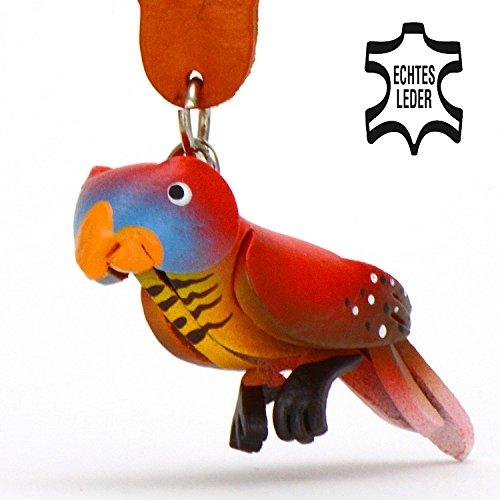 Papagei-en Peter - Deko Schlüssel-anhänger Figur aus Leder in der Kategorie Spielzeug / Zubehör / Kuscheltier / Stofftier / Plüsch-tier von Monkimau in rot - Dein bester Freund. Immer dabei! - ca. 5cm klein (Größen Obst Loom)