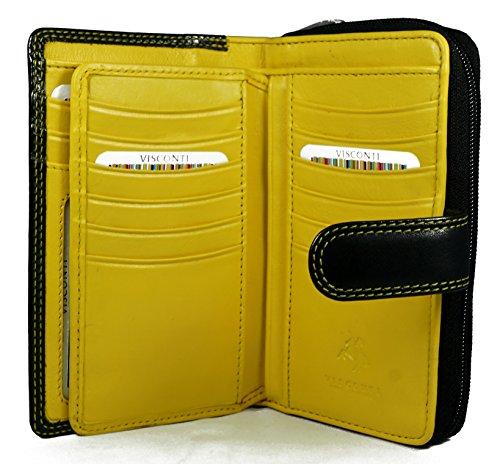 """Visconti portafoglio di pelle da donna a piegatura doppia """"Rio"""" Combination Leather Purse (CD-22): nero/giallo (blk/yellow)"""