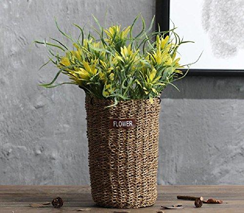 Lx.AZ.Kx American idilliaco di rattan manualmente vaso Playmate Secco, tessitura a mano i vasi da fiori Boutonniere Parlor cesti di fiori , ampio B) +3 cesti floreali oro del fascio