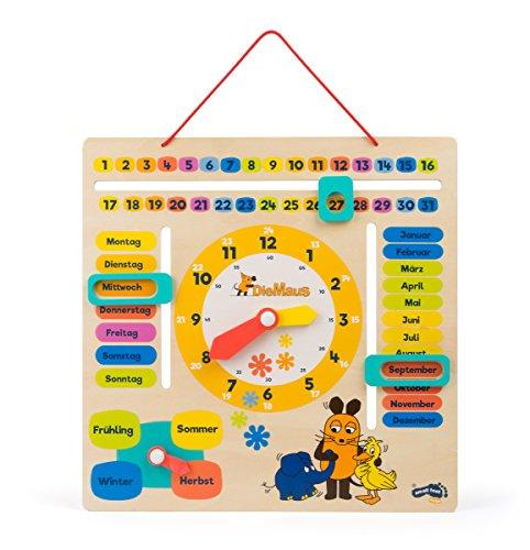"""Lerntafel aus Holz mit Motiven aus \""""die Sendung mit der Maus\"""", erklärt spielend das Datum, Jahreszeiten und die Uhrzeit mit drehbaren Zeigern auf deutscher Sprache, geeignet für Kinder ab 3 Jahren"""