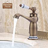 Hehilark Retro Nostalgie Einhebel Wasserhahn Mischbatterie Spültischarmatur Küchenarmatur Bad Waschbecken Armatur Mischbatteri Messing Armatur (Bronze)