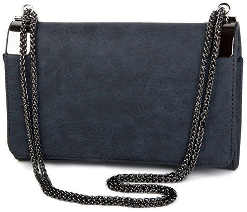 styleBREAKER Clutch, Abendtasche mit Metallspangen und Gliederkette, Vintage Design, Damen 02012046, Farbe:Midnight-Blue