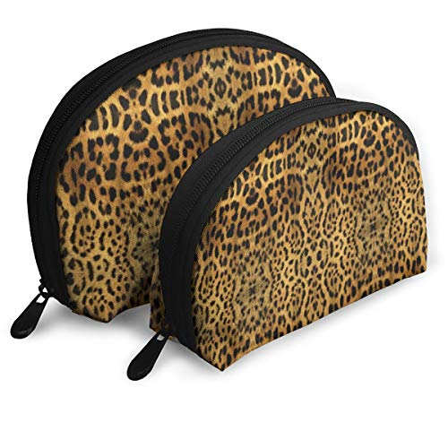 Furry Leopard Print 2pcs/pack Toiletry bag Travel Carry On Airport Travel Shell Makeup Storage Bag Toiletry Organizer For Women Furry Leopard